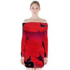 Halloween landscape Long Sleeve Off Shoulder Dress