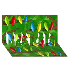 Parrots Flock BEST SIS 3D Greeting Card (8x4)