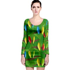 Parrots Flock Long Sleeve Bodycon Dress