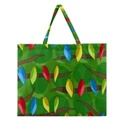 Parrots Flock Zipper Large Tote Bag