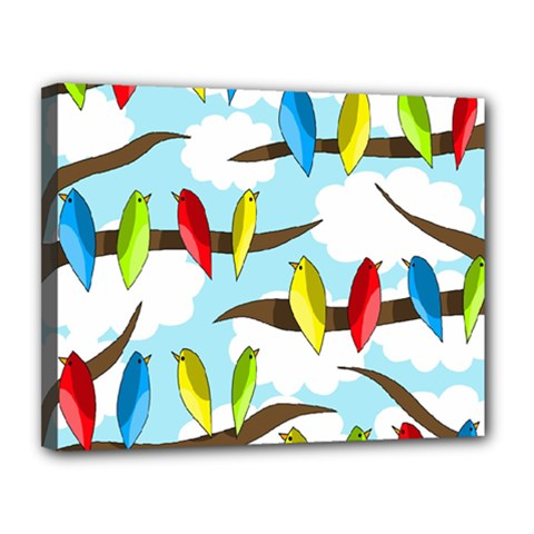 Parrots flock Canvas 14  x 11