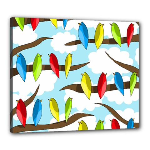 Parrots flock Canvas 24  x 20