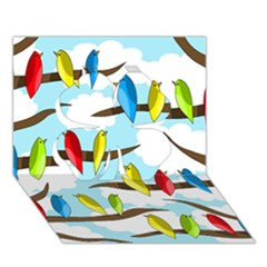 Parrots Flock Clover 3d Greeting Card (7x5)