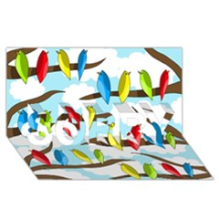 Parrots flock SORRY 3D Greeting Card (8x4)