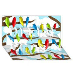 Parrots flock Merry Xmas 3D Greeting Card (8x4)