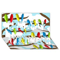Parrots flock Happy New Year 3D Greeting Card (8x4)