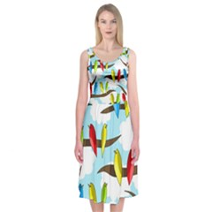 Parrots flock Midi Sleeveless Dress