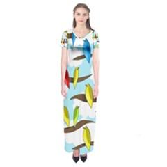 Parrots flock Short Sleeve Maxi Dress