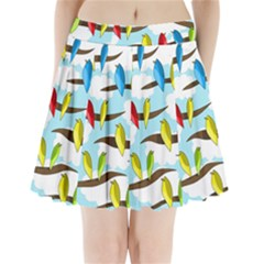 Parrots Flock Pleated Mini Skirt