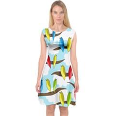 Parrots flock Capsleeve Midi Dress