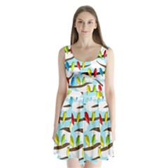 Parrots flock Split Back Mini Dress