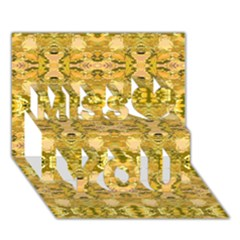 Fabric Design Pattern Color  Miss You 3D Greeting Card (7x5)