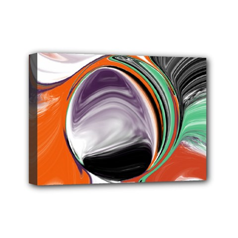 Abstract Orb In Orange, Purple, Green, And Black Mini Canvas 7  X 5