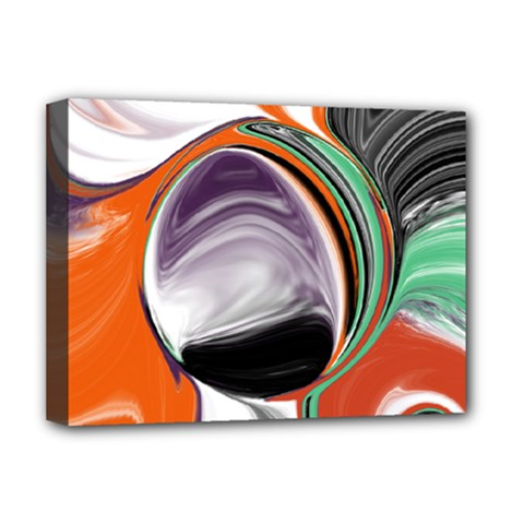 Abstract Orb In Orange, Purple, Green, And Black Deluxe Canvas 16  X 12