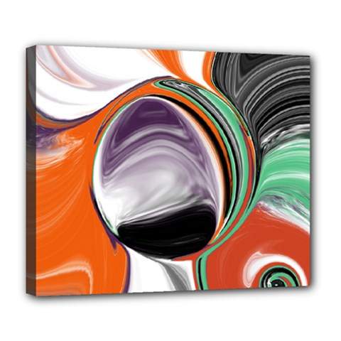 Abstract Orb In Orange, Purple, Green, And Black Deluxe Canvas 24  X 20