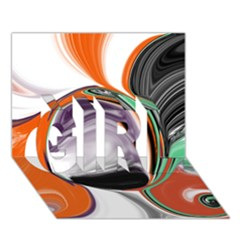 Abstract Orb In Orange, Purple, Green, And Black Girl 3d Greeting Card (7x5)