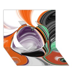 Abstract Orb In Orange, Purple, Green, And Black Heart 3d Greeting Card (7x5)