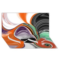 Abstract Orb In Orange, Purple, Green, And Black Twin Heart Bottom 3d Greeting Card (8x4)