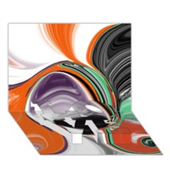 Abstract Orb in Orange, Purple, Green, and Black LOVE Bottom 3D Greeting Card (7x5)