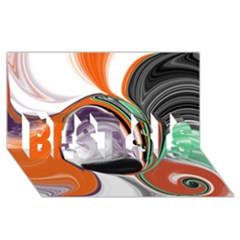 Abstract Orb in Orange, Purple, Green, and Black BEST SIS 3D Greeting Card (8x4)