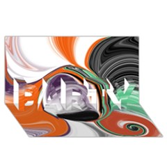 Abstract Orb in Orange, Purple, Green, and Black PARTY 3D Greeting Card (8x4)