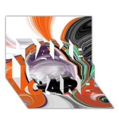 Abstract Orb in Orange, Purple, Green, and Black TAKE CARE 3D Greeting Card (7x5)