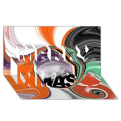 Abstract Orb In Orange, Purple, Green, And Black Merry Xmas 3d Greeting Card (8x4)