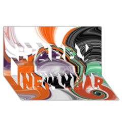 Abstract Orb in Orange, Purple, Green, and Black Happy New Year 3D Greeting Card (8x4)