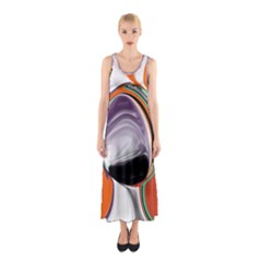 Abstract Orb in Orange, Purple, Green, and Black Sleeveless Maxi Dress
