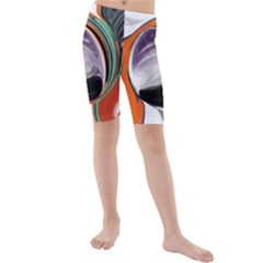 Abstract Orb in Orange, Purple, Green, and Black Kids  Mid Length Swim Shorts