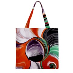 Abstract Orb In Orange, Purple, Green, And Black Grocery Tote Bag