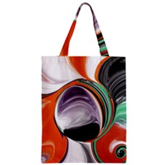 Abstract Orb In Orange, Purple, Green, And Black Zipper Classic Tote Bag