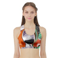 Abstract Orb In Orange, Purple, Green, And Black Sports Bra With Border