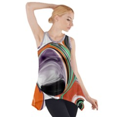 Abstract Orb In Orange, Purple, Green, And Black Side Drop Tank Tunic