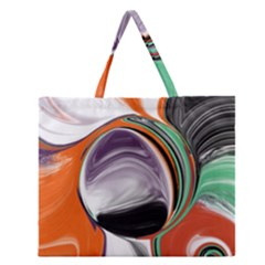 Abstract Orb In Orange, Purple, Green, And Black Zipper Large Tote Bag