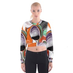 Abstract Orb in Orange, Purple, Green, and Black Women s Cropped Sweatshirt