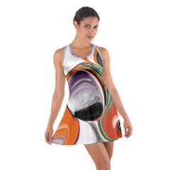 Abstract Orb In Orange, Purple, Green, And Black Cotton Racerback Dress