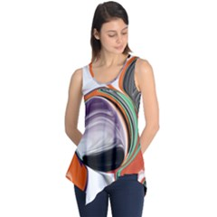 Abstract Orb In Orange, Purple, Green, And Black Sleeveless Tunic