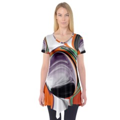 Abstract Orb In Orange, Purple, Green, And Black Short Sleeve Tunic