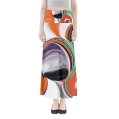 Abstract Orb In Orange, Purple, Green, And Black Maxi Skirts