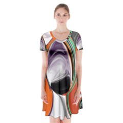 Abstract Orb in Orange, Purple, Green, and Black Short Sleeve V-neck Flare Dress