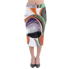 Abstract Orb In Orange, Purple, Green, And Black Midi Pencil Skirt