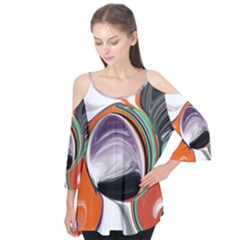 Abstract Orb In Orange, Purple, Green, And Black Flutter Tees