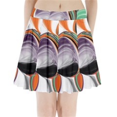 Abstract Orb In Orange, Purple, Green, And Black Pleated Mini Skirt