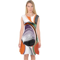 Abstract Orb in Orange, Purple, Green, and Black Capsleeve Midi Dress