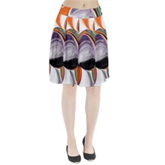 Abstract Orb In Orange, Purple, Green, And Black Pleated Skirt
