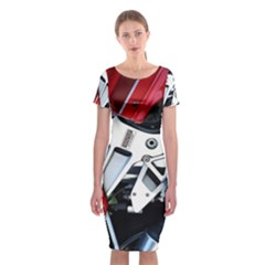 Footrests Motorcycle Page Classic Short Sleeve Midi Dress