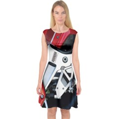 Footrests Motorcycle Page Capsleeve Midi Dress