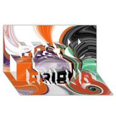 Abstract Orb In Orange, Purple, Green, And Black Best Friends 3d Greeting Card (8x4)
