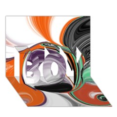 Abstract Orb in Orange, Purple, Green, and Black BOY 3D Greeting Card (7x5)